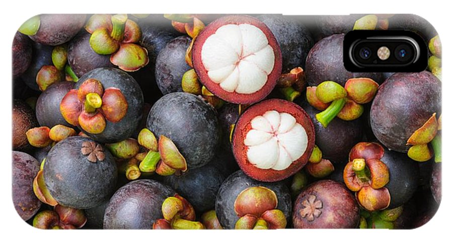 Mangosteen IPhone X Case featuring the photograph Fresh Organic Mangosteen Thai Fruit In by Unchalee foto