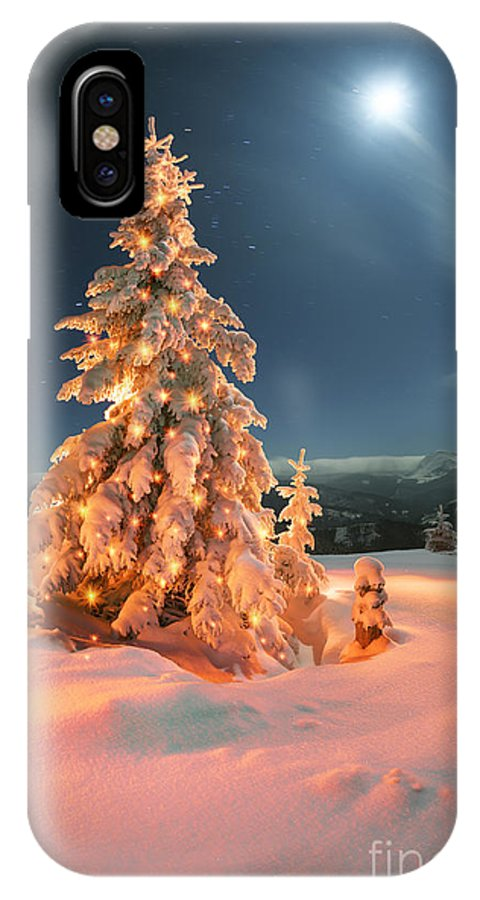 Forest IPhone X Case featuring the photograph Frosty Winter Night Of Christening - by Roman Mikhailiuk