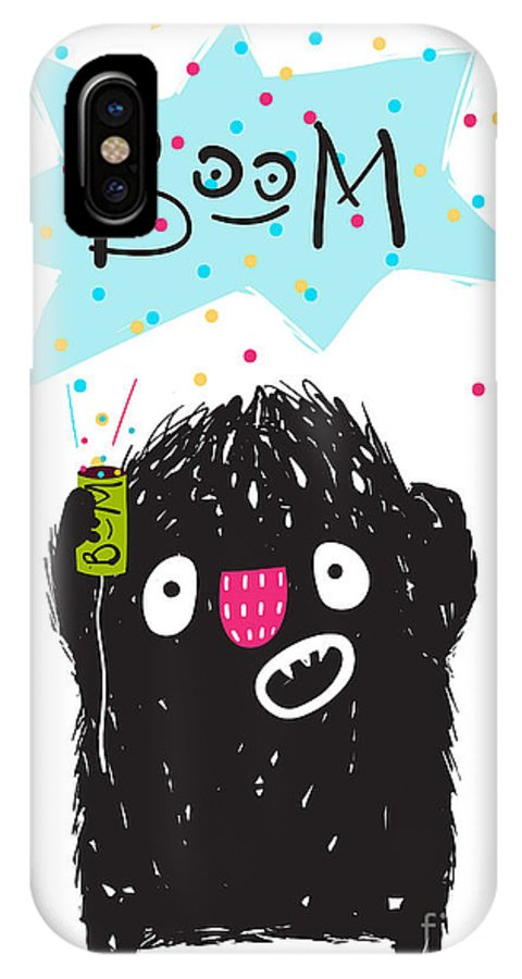 Play IPhone X Case featuring the digital art Fun Naughty Monster Playing With Petard by Popmarleo