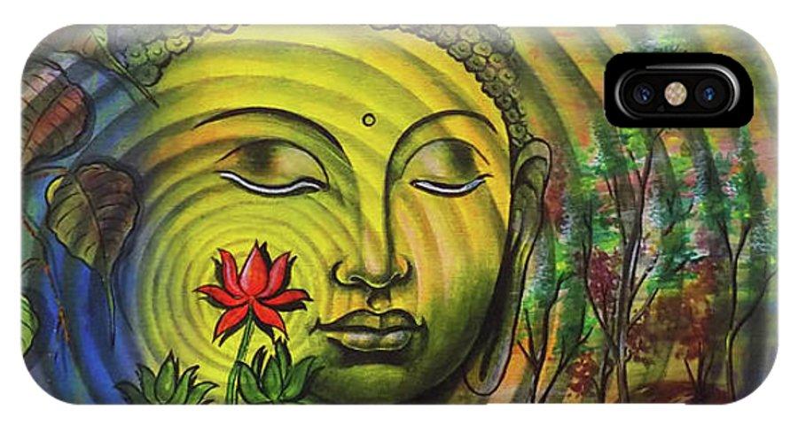 Buddha IPhone X Case featuring the drawing Gautama Buddha Ripple Effect Portrait by Arun Sivaprasad