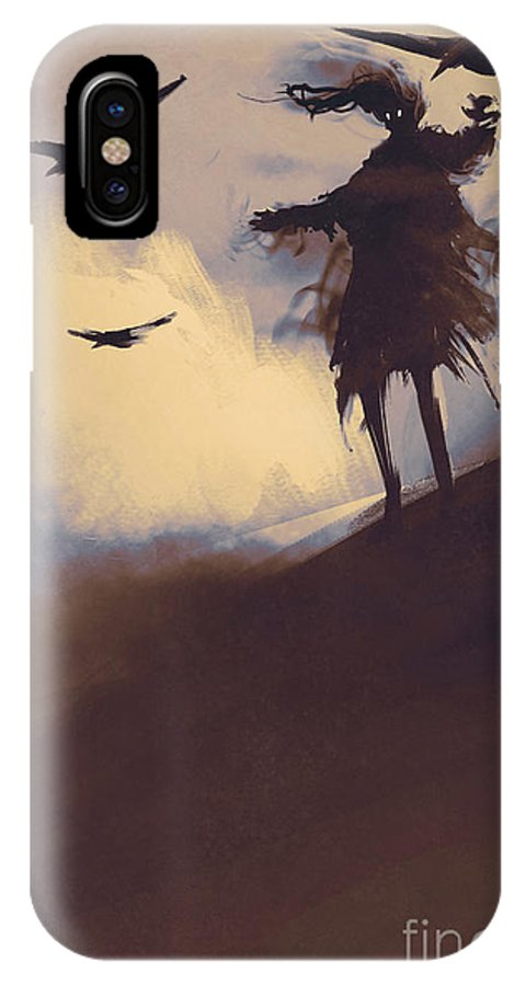 Death IPhone X Case featuring the digital art Ghost With Flying Crows In The by Tithi Luadthong