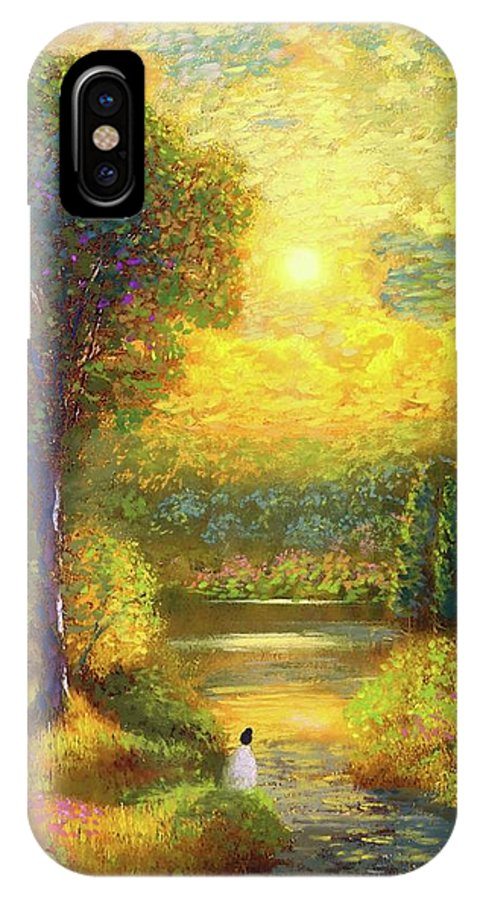 Meditation IPhone X Case featuring the painting Golden Peace by Jane Small
