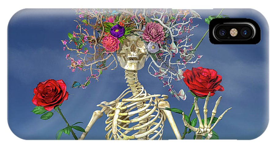 Skeleton IPhone X Case featuring the digital art Grateful Greetings And Good Times by Betsy Knapp