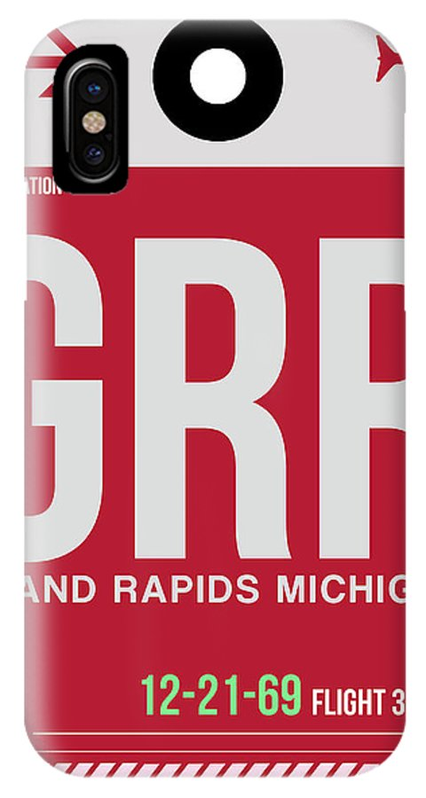 Vacation IPhone X Case featuring the digital art Grr Grand Rapids Luggage Tag II by Naxart Studio