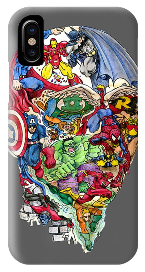 Superhero IPhone X Case featuring the drawing Heroic Mind by John Ashton Golden