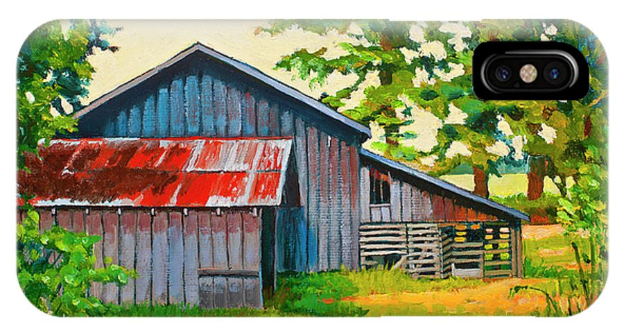 Barn IPhone X Case featuring the painting Hidden Sheep Barn by Stacey Neumiller
