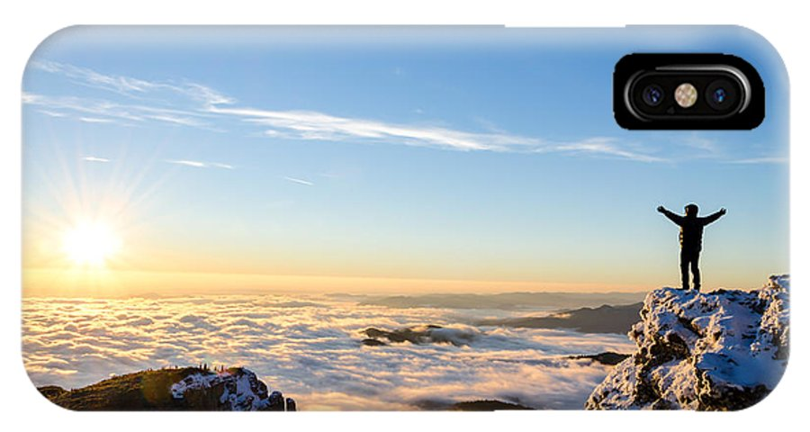 Achievement IPhone X Case featuring the photograph Hiker Celebrating Success On Top Of A by Catalin Grigoriu