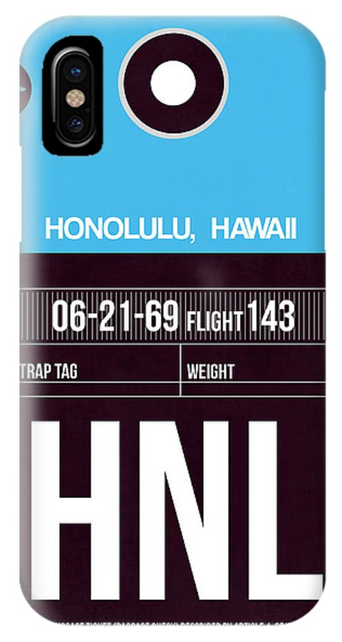 Vacation IPhone X Case featuring the digital art Hnl Honolulu Luggage Tag II by Naxart Studio