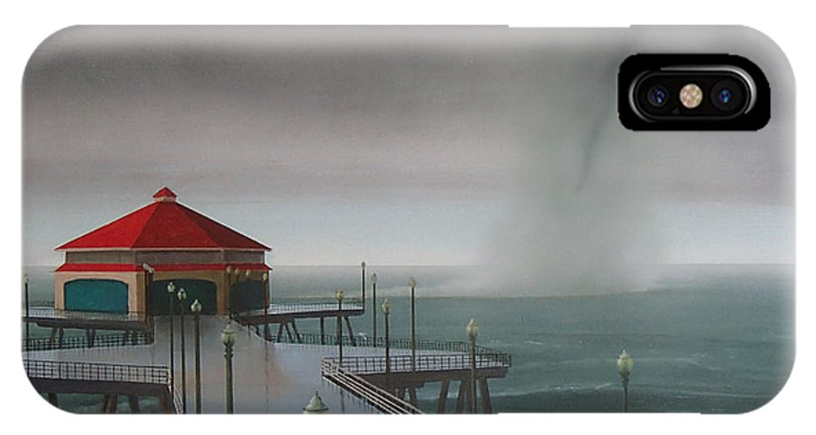 Huntington Beach IPhone X Case featuring the painting Huntington Beach Pier waterspout by Philip Fleischer