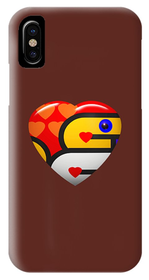 Red Love Heart IPhone X Case featuring the digital art I See You by Charles Stuart