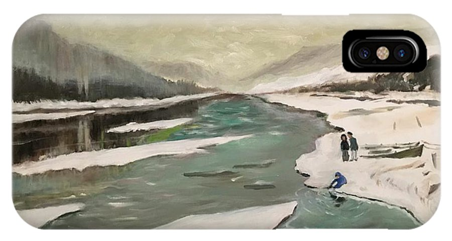 IPhone X Case featuring the painting Icey River by James Yook