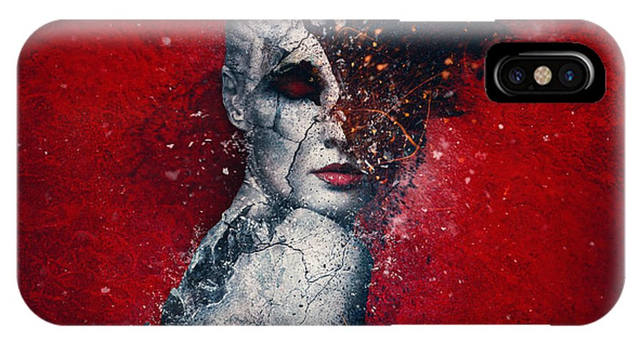 Red IPhone X Case featuring the digital art Indifference by Mario Sanchez Nevado