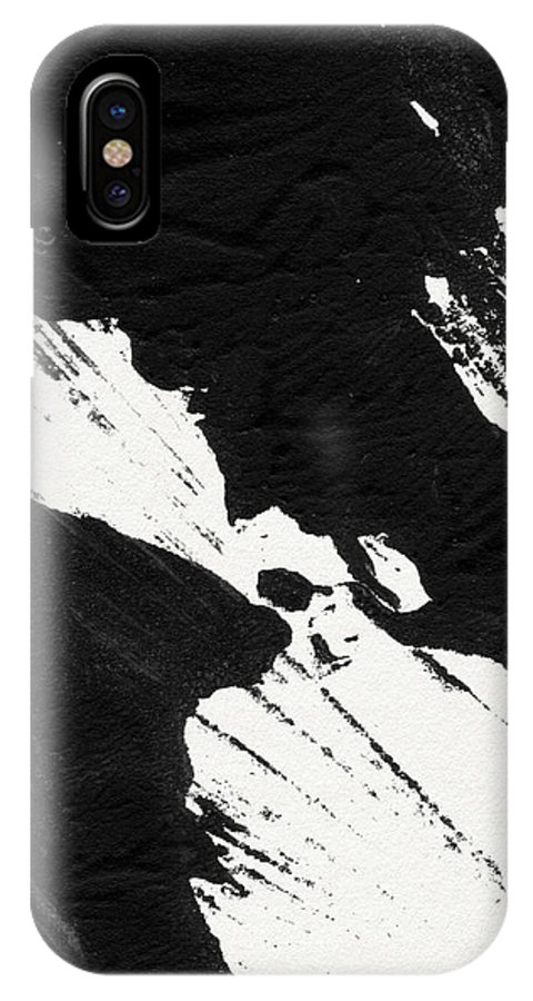 Abstract IPhone X Case featuring the mixed media Ink Wave 2- Art By Linda Woods by Linda Woods