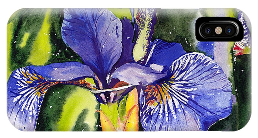 Blue IPhone X Case featuring the painting Iris In Bloom by Suzann Sines