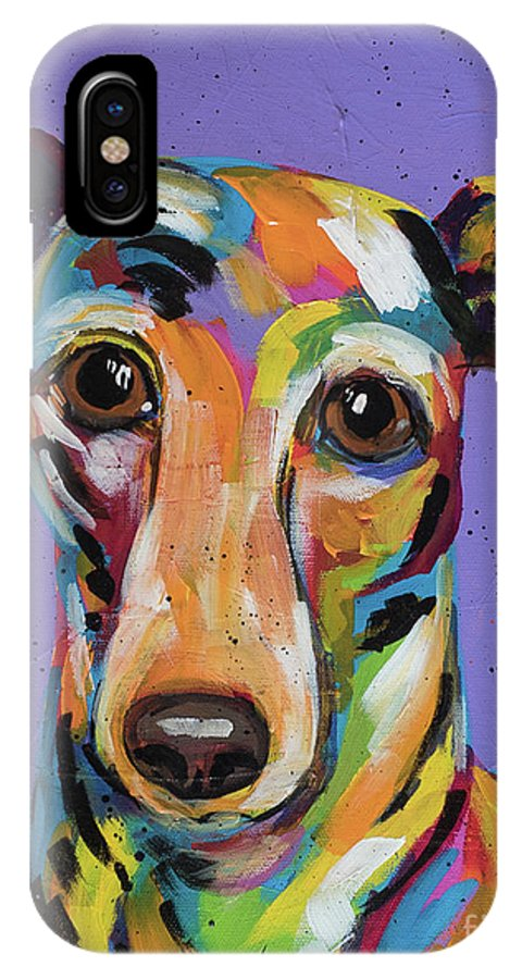Tracy Miller IPhone X Case featuring the painting Italian Greyhound by Tracy Miller