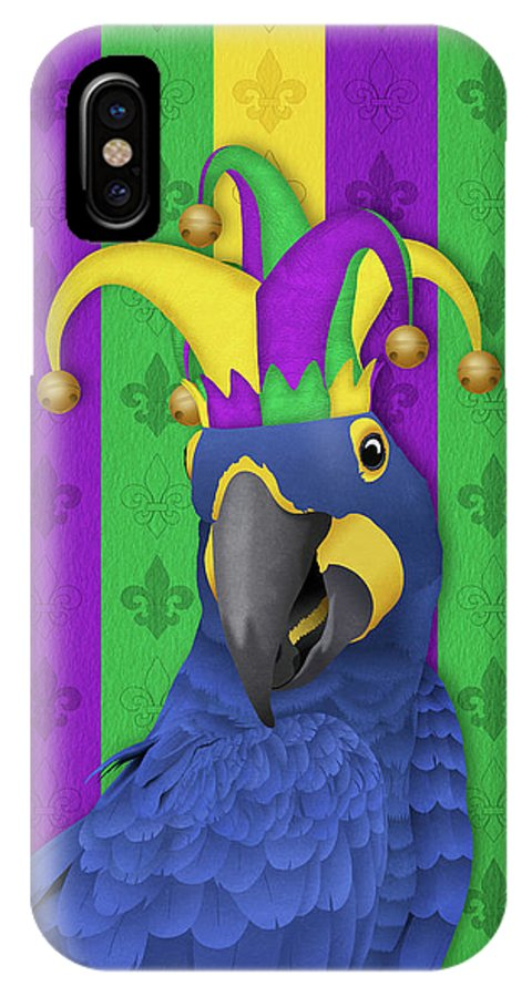 Studio Dalio - Jake the Jester - Mardi Gras Macaw iPhone Case
