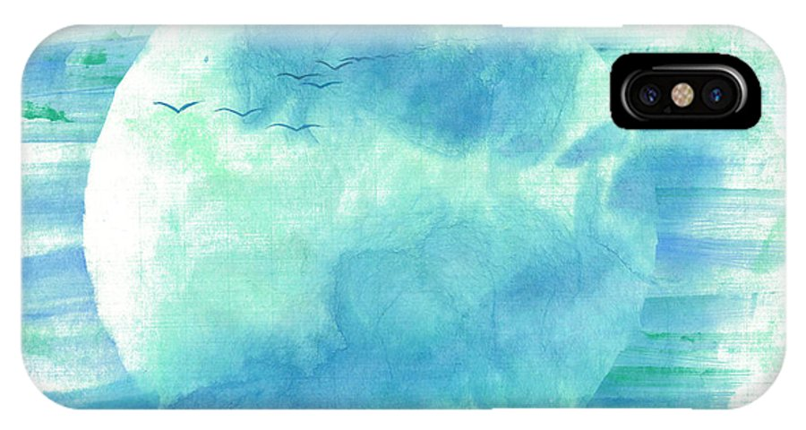 Majestic Cranes Journey Beyond Where Eyes Can See. The Painting Is Done With Watercolor On Rice Paper By Mui-joo Wee In Simple Contemporary Brush Strokes IPhone X Case featuring the painting Journey Beyond by Mui-Joo Wee