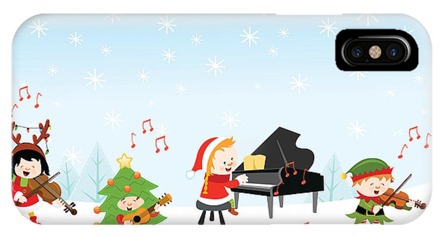 Gift IPhone X Case featuring the digital art Kids Playing Christmas Songs by Pinar Ince