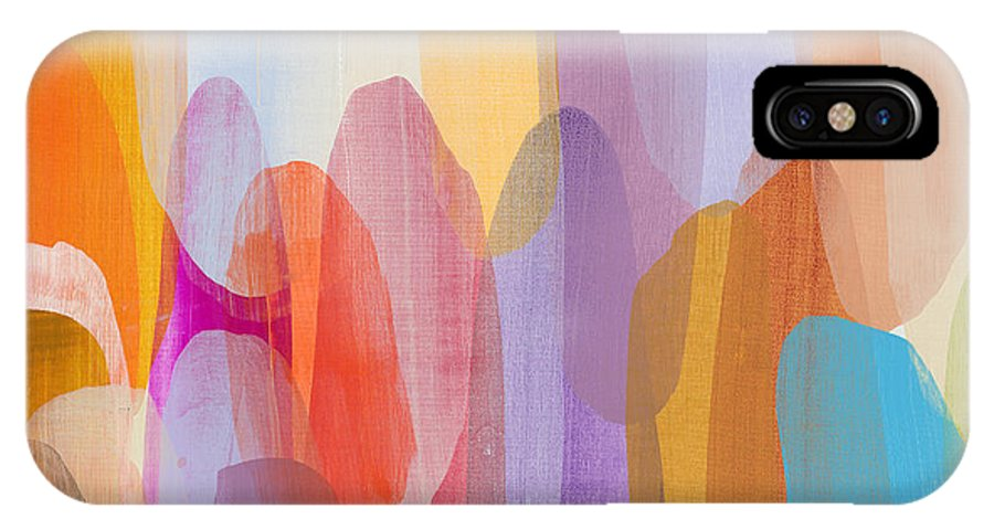 Abstract IPhone X Case featuring the painting Kinship by Claire Desjardins