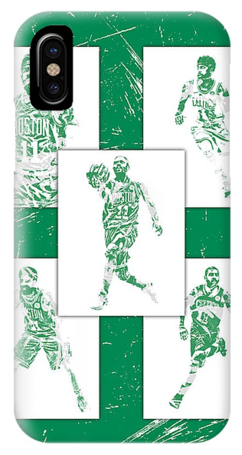 Kyrie Irving IPhone X Case featuring the mixed media Kyrie Irving Boston Celtics Panel Pixel Art 1 by Joe Hamilton