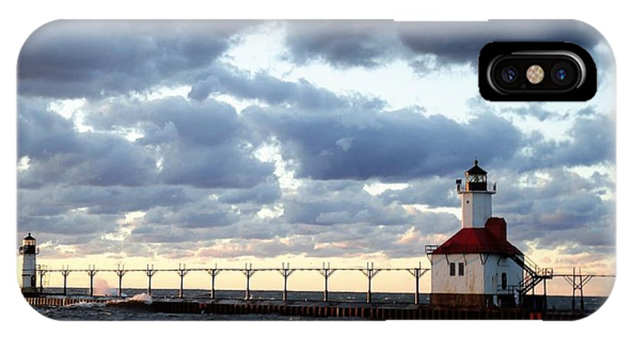 Water IPhone X Case featuring the photograph Lake Michigan Lighthouse by Katherine Taibl
