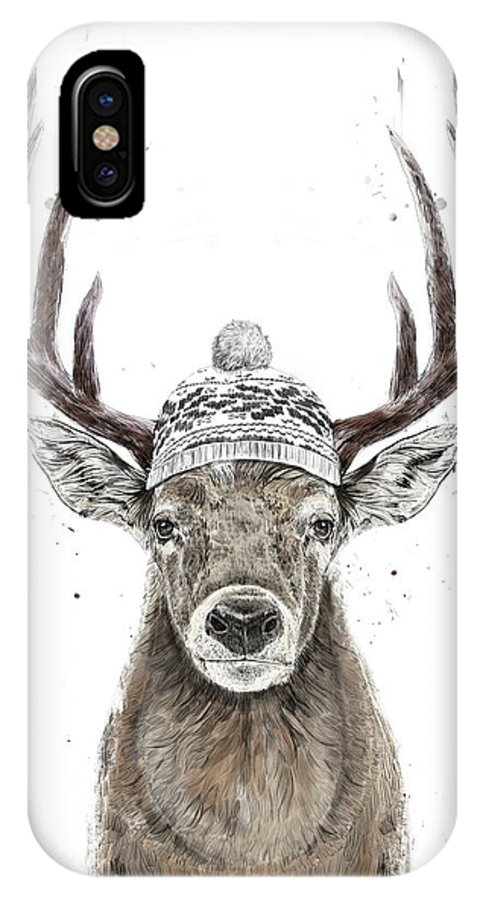 Deer IPhone X Case featuring the mixed media Let's Go Outside by Balazs Solti