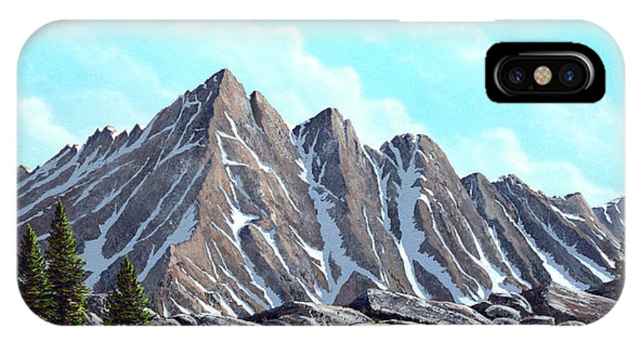 Landscape IPhone X Case featuring the painting Lofty Peaks by Frank Wilson