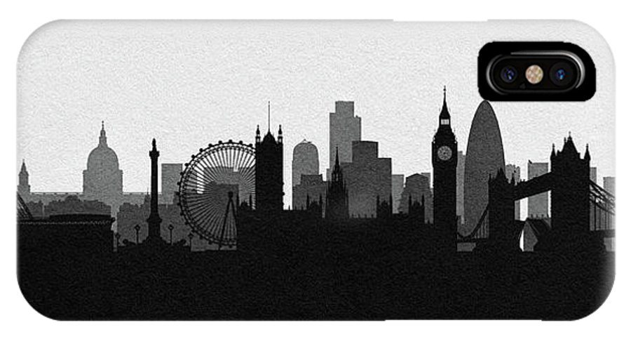 London IPhone X Case featuring the digital art London Cityscape Art by Inspirowl Design