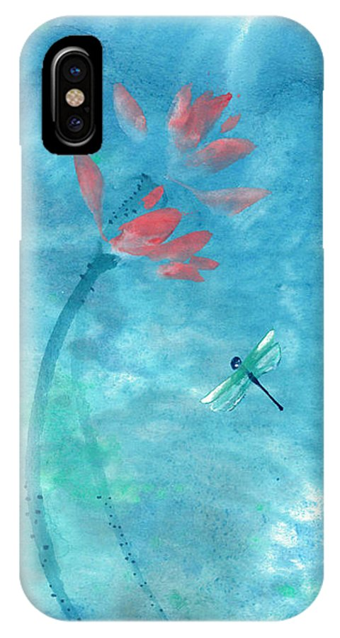An Elegant Dragonfly Dotting Among Lotus Flowers On A Breezy Pond. The Painting Is Done With Watercolor On Rice Paper By Mui-joo Wee In Simple Contemporary Brush Strokes IPhone X Case featuring the painting Lotus and dragonfly by Mui-Joo Wee