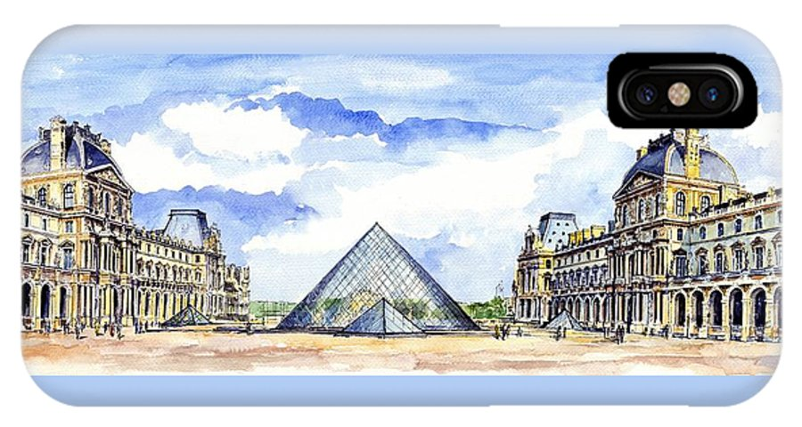 Louvre Museum IPhone X Case featuring the painting Louvre Museum by ArtMarketJapan
