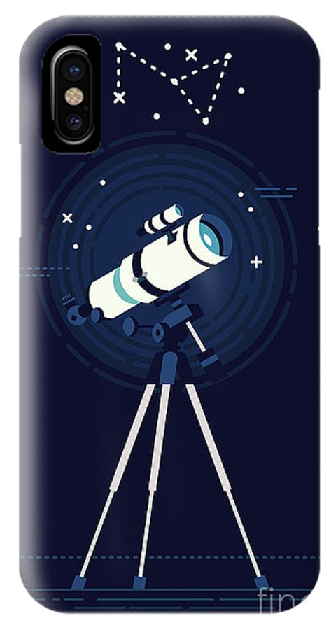 Big IPhone X Case featuring the digital art Lovely Vector Background On Astronomy by Mascha Tace