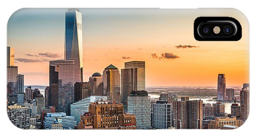 Usa IPhone X Case featuring the photograph Lower Manhattan Skyline At Sunset by Mandritoiu