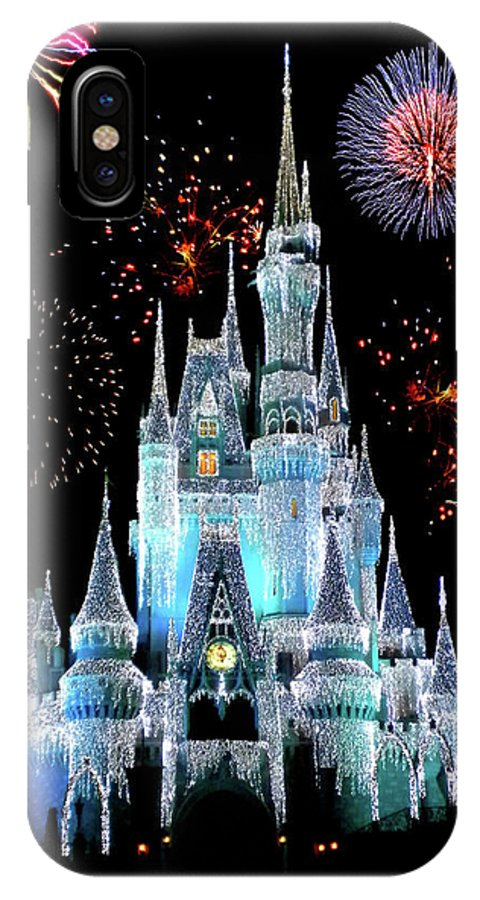 Castle IPhone X Case featuring the photograph Magic Kingdom Castle In Frosty Light Blue With Fireworks 06 by Thomas Woolworth