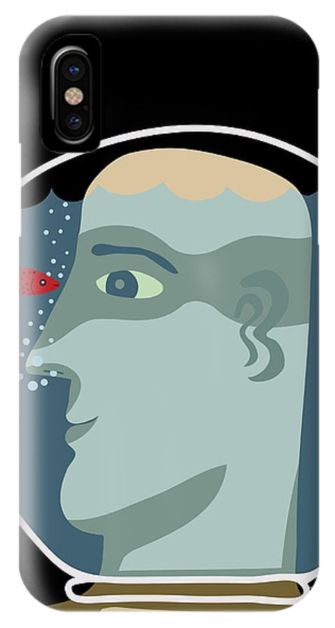 Suffocating IPhone X Case featuring the digital art Man With A Head Inside An Aquarium With by Complot