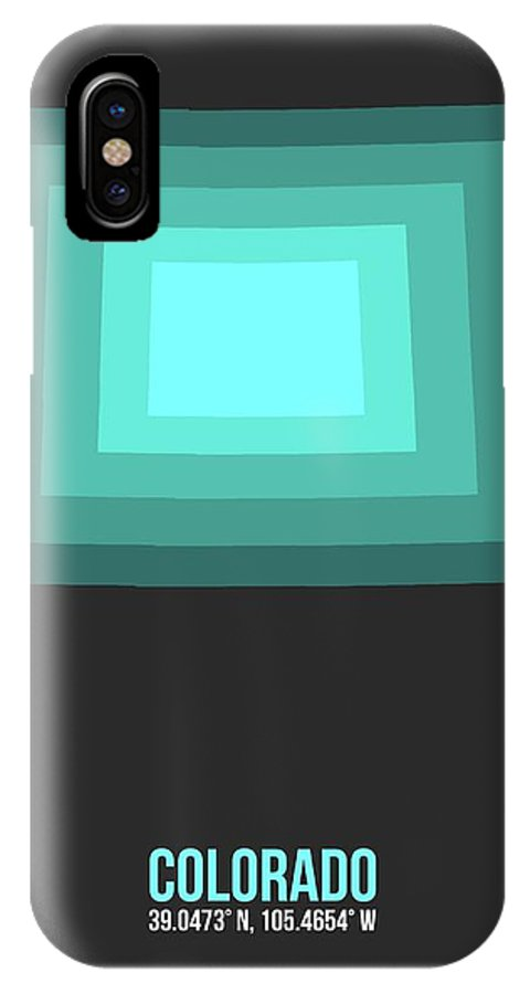 Colorado Map IPhone X Case featuring the digital art Map Of Colorado Teal by Naxart Studio