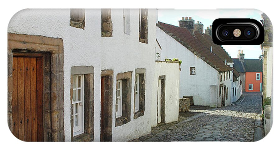 Cobbles IPhone X Case featuring the photograph medieval cobbled street in Culross, fife by Victor Lord Denovan