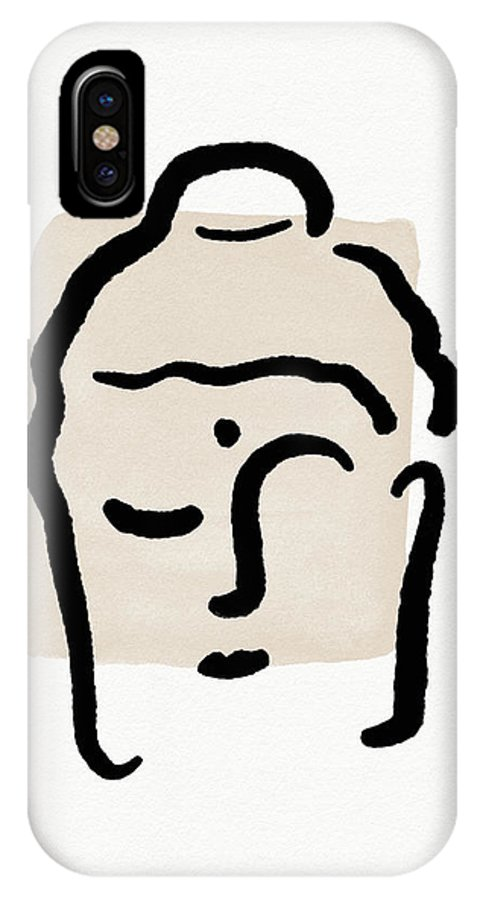 Minimal IPhone X Case featuring the mixed media Minimal Buddha 4- Art By Linda Woods by Linda Woods