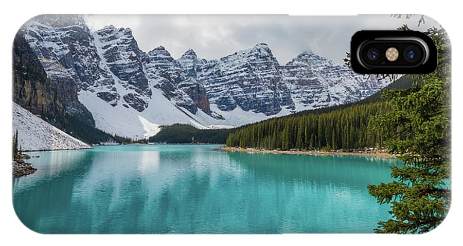 Alberta IPhone X Case featuring the photograph Moraine Lake Range by Inge Johnsson