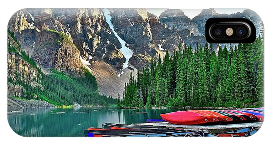Lake IPhone X Case featuring the photograph Mountain Tranquility by Frozen in Time Fine Art Photography