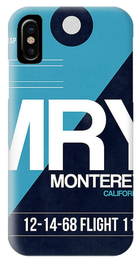 Monterey IPhone X Case featuring the digital art Mry Monterey Luggage Tag II by Naxart Studio