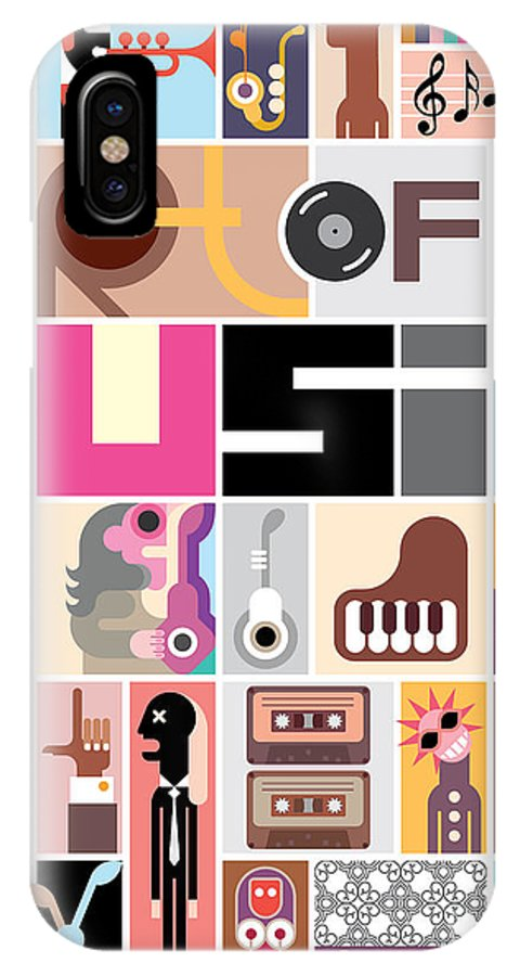 Notes IPhone X Case featuring the digital art Musical Collage Of Various Images - by Danjazzia