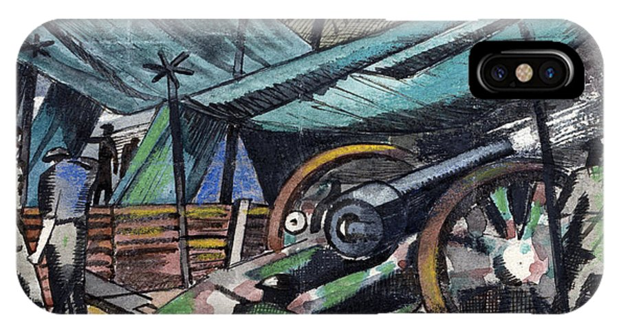 B1019 IPhone X Case featuring the painting A Howitzer Firing, 1918 by Paul Nash