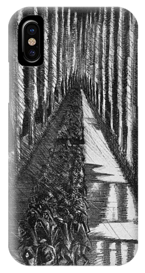 B1019 IPhone X Case featuring the drawing Men Marching At Night, 1918 by Paul Nash