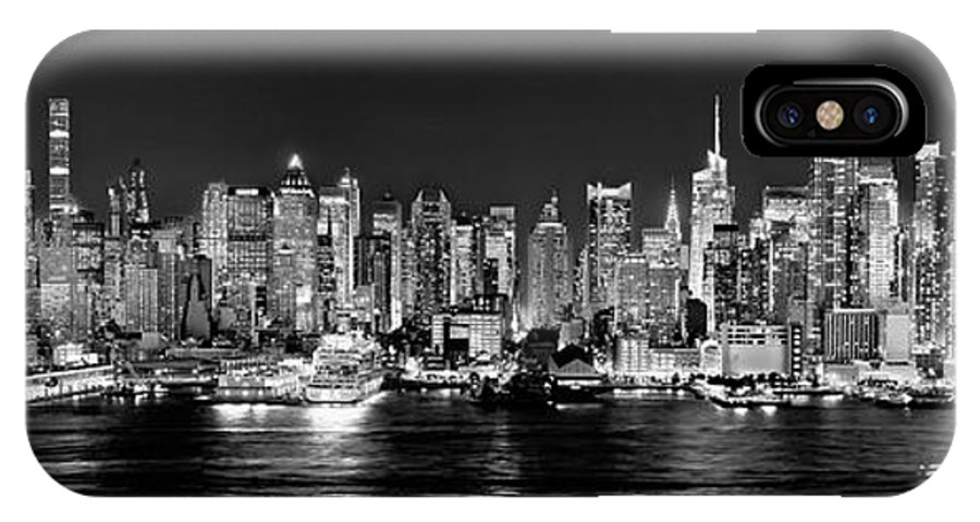 New York City Skyline At Night IPhone X Case featuring the photograph New York City Nyc Skyline Midtown Manhattan At Night Black And White by Jon Holiday