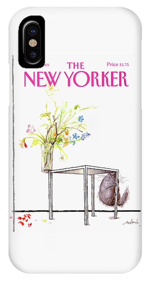 Animal IPhone X Case featuring the drawing New Yorker Cover June 5 1989 by Ronald Searle