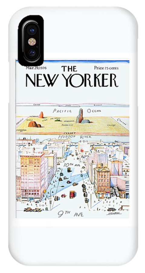 #condenastnewyorkercover IPhone X Case featuring the painting New Yorker March 29, 1976 by Saul Steinberg