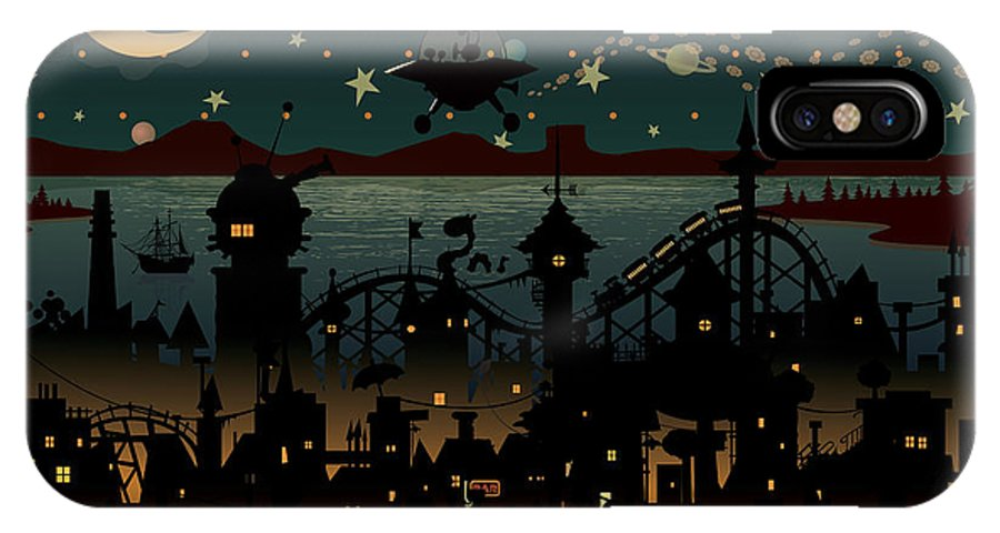 Chimney IPhone X Case featuring the digital art Night Scene Illustration With Ufo by Mangulica