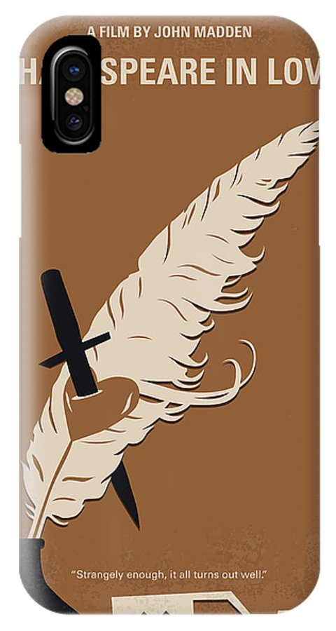 Shakespeare IPhone X Case featuring the digital art No1071 My Shakespeare In Love Minimal Movie Poster by Chungkong Art