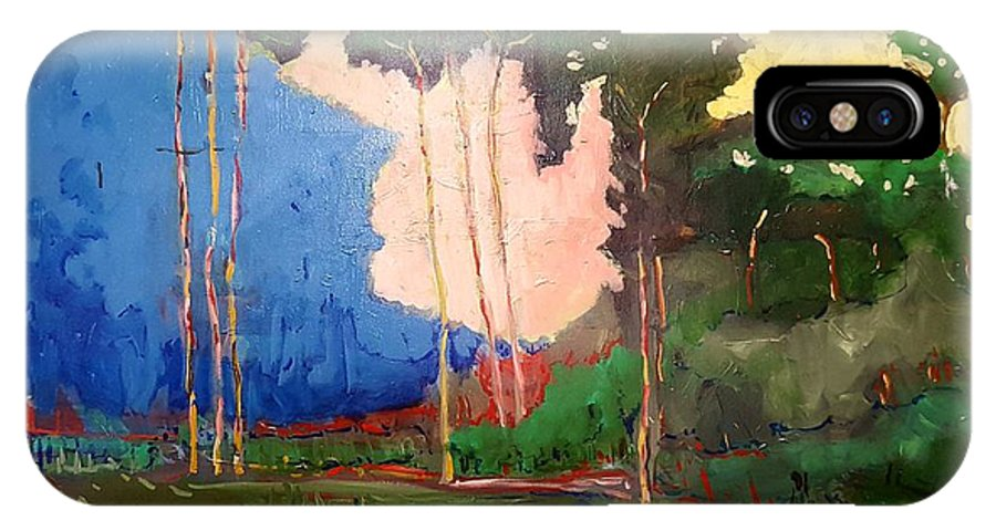 Trees IPhone X Case featuring the painting North Bay by Kurt Hausmann