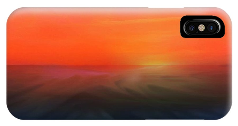 Sunset Painting IPhone X Case featuring the mixed media Ocean Sunset by Aaron Berg